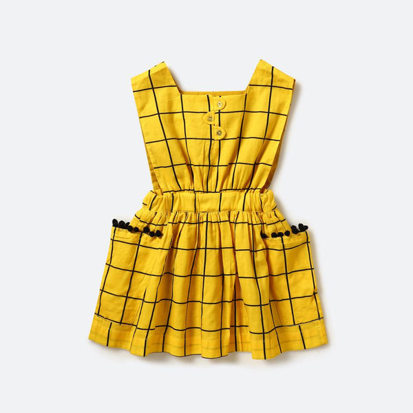Tic Tac Toe sleeveless dress (Yellow) - Nick & Nishka