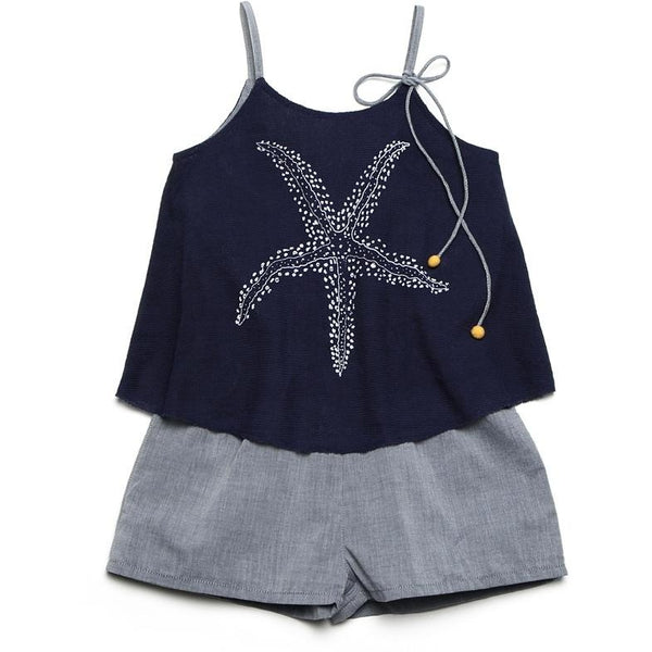 Navy blue romper with star fish print for kids