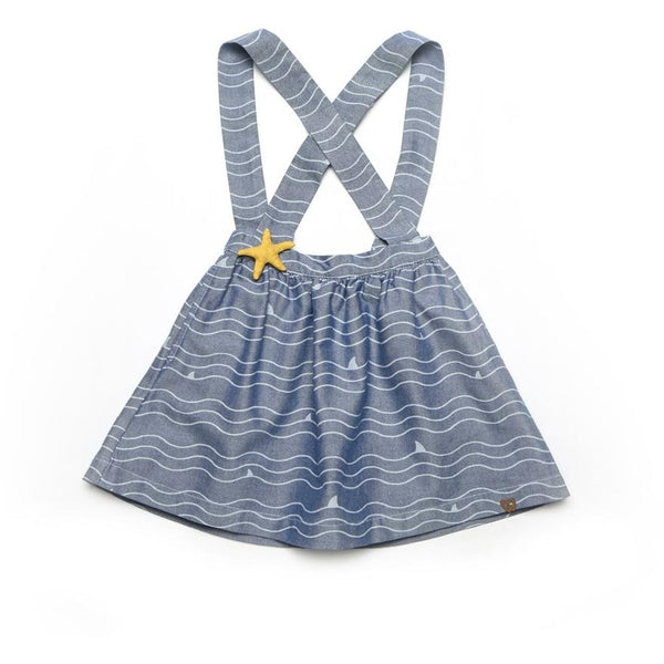 Suspender skirt with wave print for kids