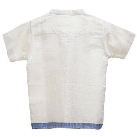 white Handwoven cotton shirt with blue border for kids