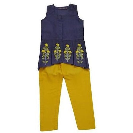 indian wear blue peplum with trousers for kids