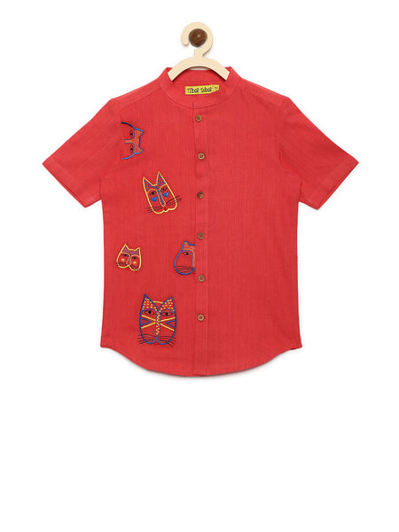 Peach Cat Face Boys shirt - Nick & Nishka