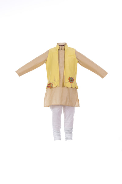 Save our Seas Kurta set in beige - 3 pcs Set - Nick & Nishka