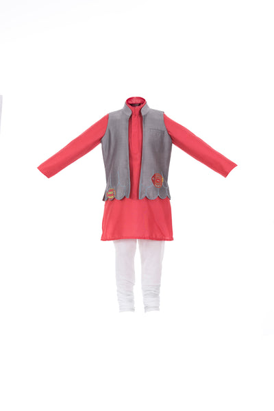 Save Our Seas Kurta and Jacket Set in Red- 3 pcs - Nick & Nishka