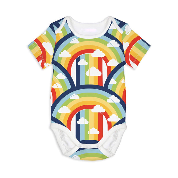 rainbow and cloud print baby onesie