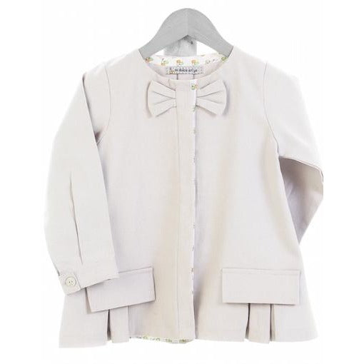 organic GOTS cotton white bow jacket for kids