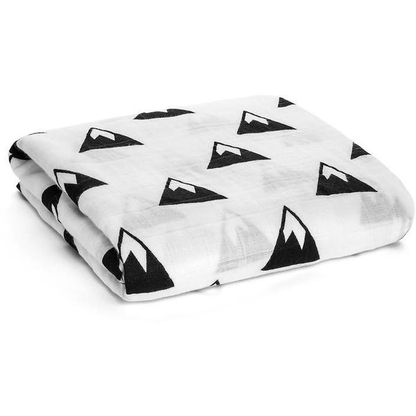 Black and white mountains organic cotton swaddle blankets