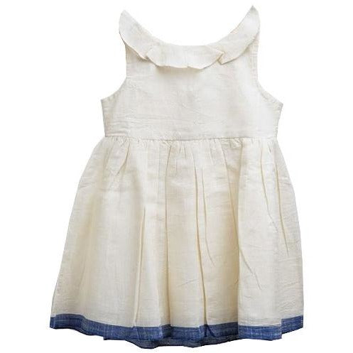 100% cream color dress with collar and bow for kids