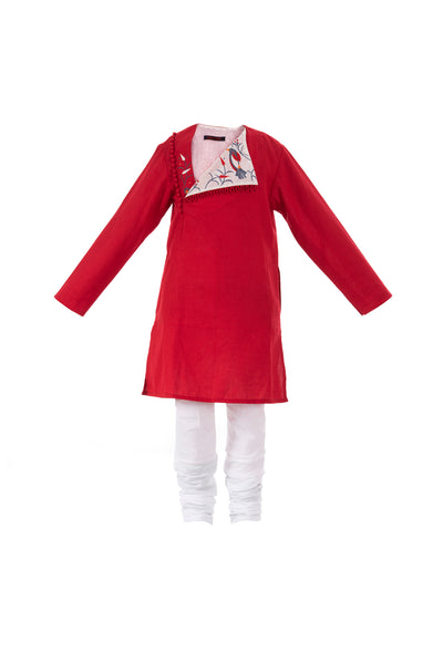 Designer kids kurta pyjama set - red