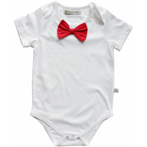 White Overlap shoulder onesie with attached red bow tie - Nick & Nishka