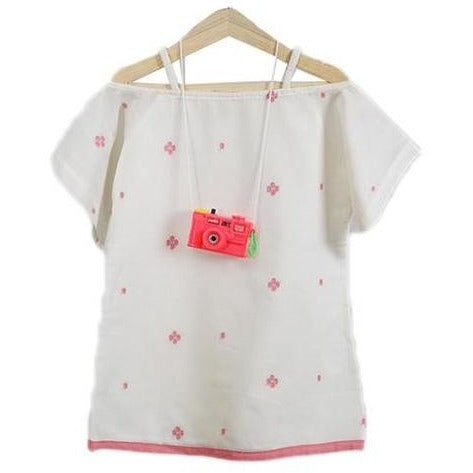 handwoven white shoulder dress with pink flower for kids