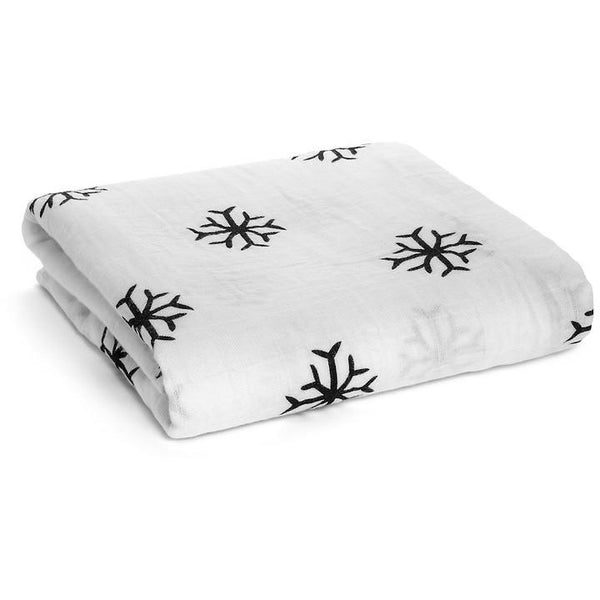 black and white snowflakes organic cotton swaddle