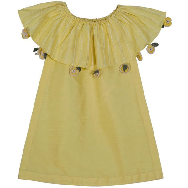 Yellow cotton silk kids dress