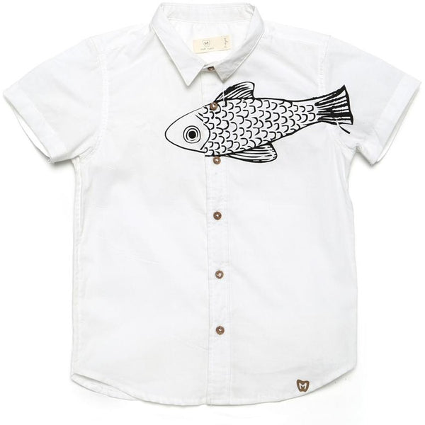 White shirt with black trout print