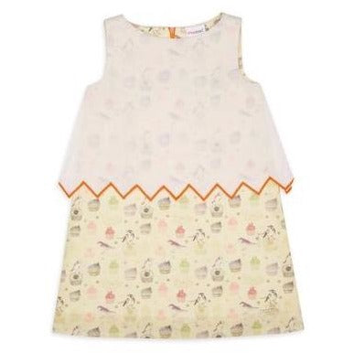 cupcake white and yellow cotton dress for kids