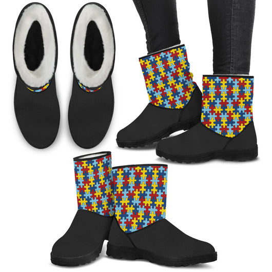 Autism Awareness Fur Boots