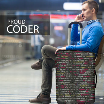 computer code luggage cover suitcase cover proud coder hacker