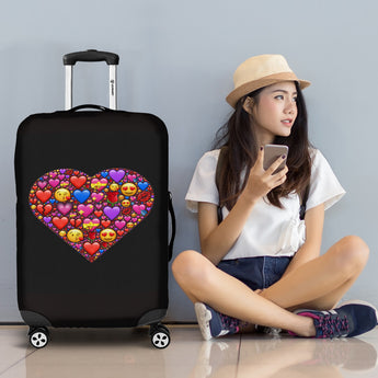 i love emoji luggage cover