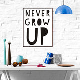 """Never Grow Up"" Canvas Wall Inspiration"