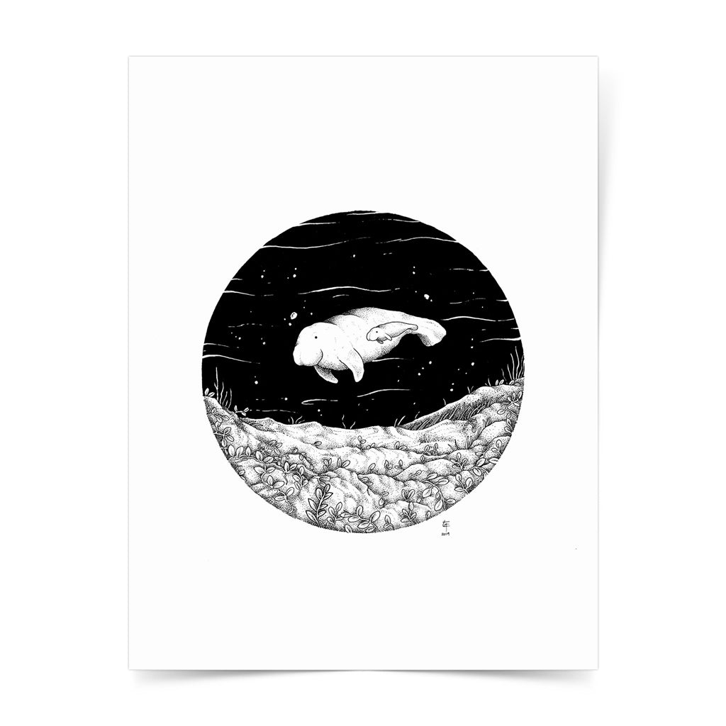 seagrass protect ocean philippines sea original copy dugong art pen and ink drawing artwork underwater space coral black and white wall decor artist proof limited edition
