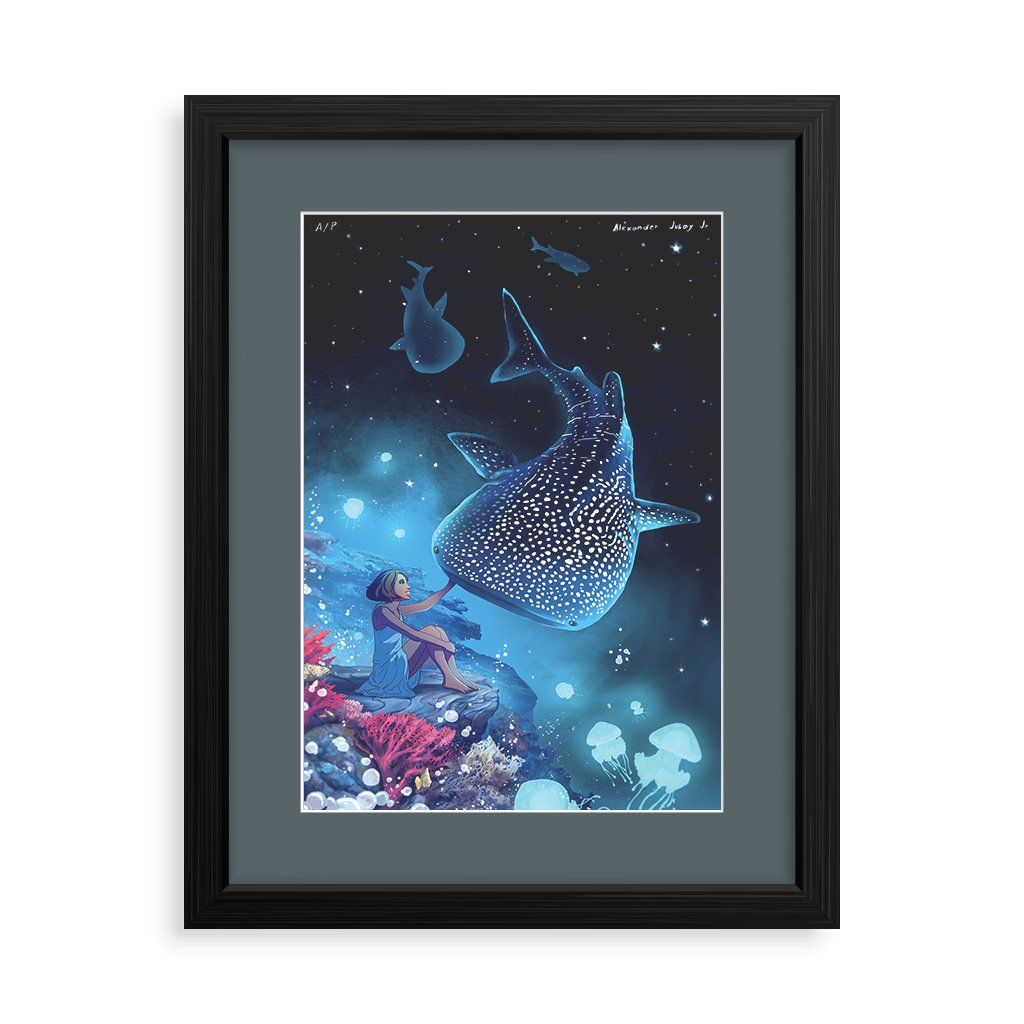 ocean pinoy whale shark underwater magic star sky sea bedroom decor wall poster