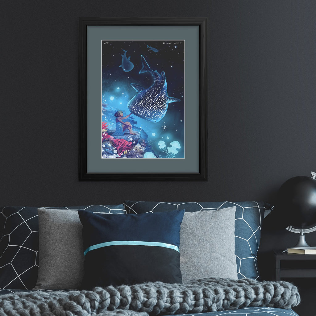 pinoy whale shark underwater magic star sky sea bedroom decor wall poster