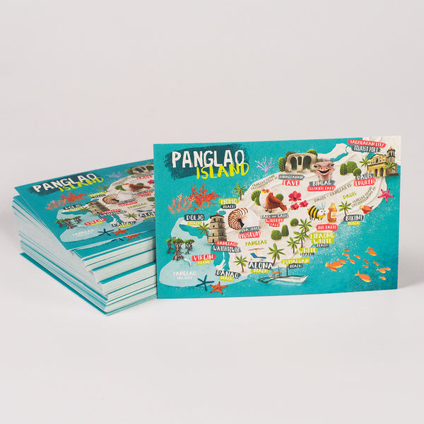 «Panglao Island Map» Postcard  Philippines gift