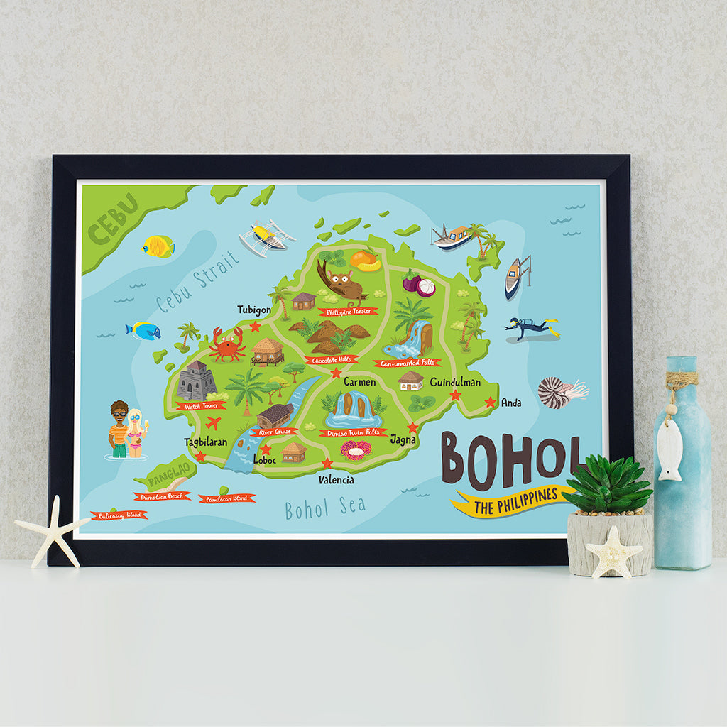 art travel poster bohol island map philippines alona beach pinoy chocolate hills
