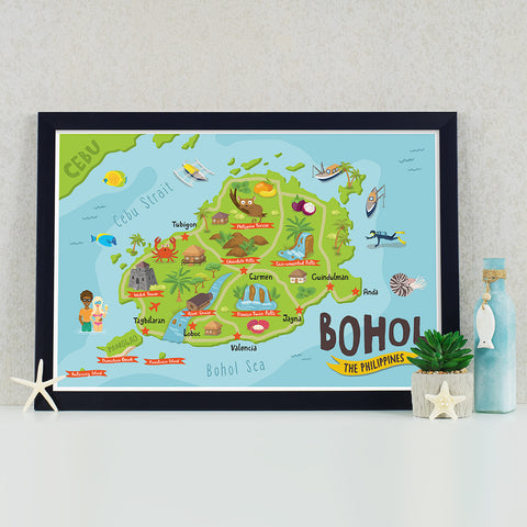 art travel poster bohol island map philippines alona beach pinoy chocolate hills Philippine