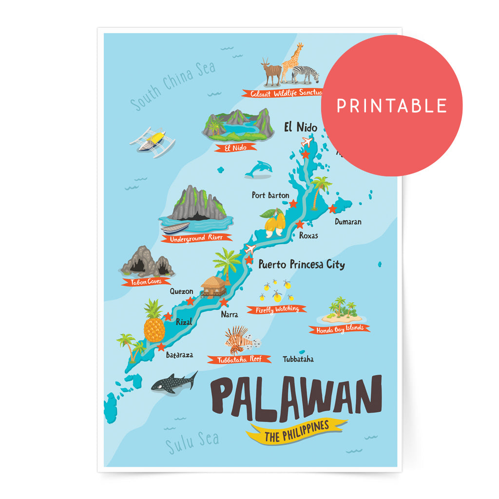 Palawan Illustrated Map Printable Wall Art Poster