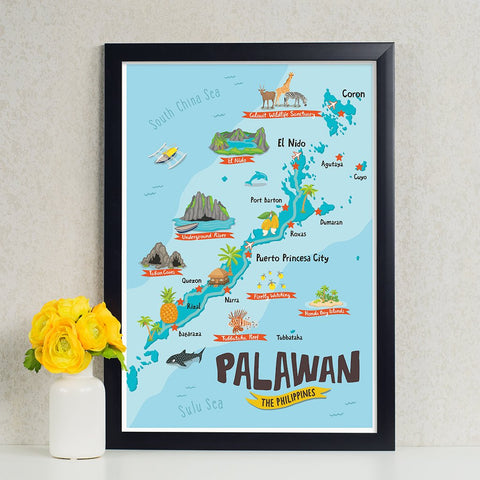 «Palawan Illustrated Map» Poster Philippine