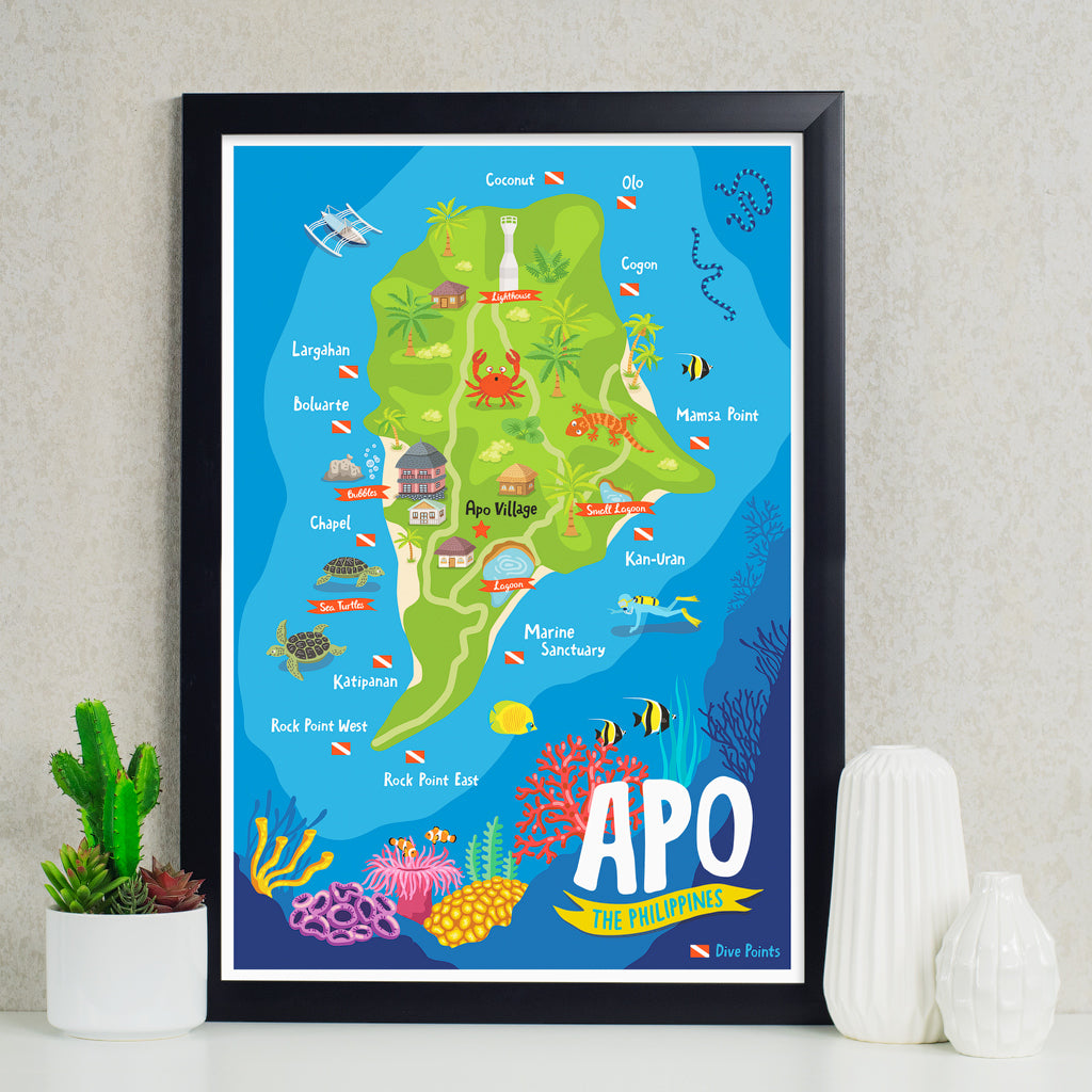 art wall decor travel poster apo island map philippines