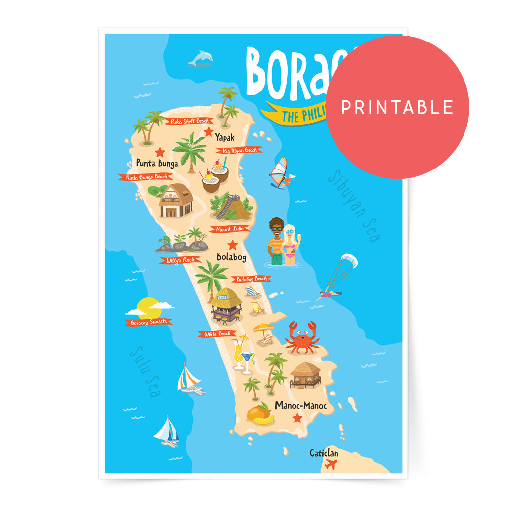 Boracay Illustrated Map Printable Wall Art Poster