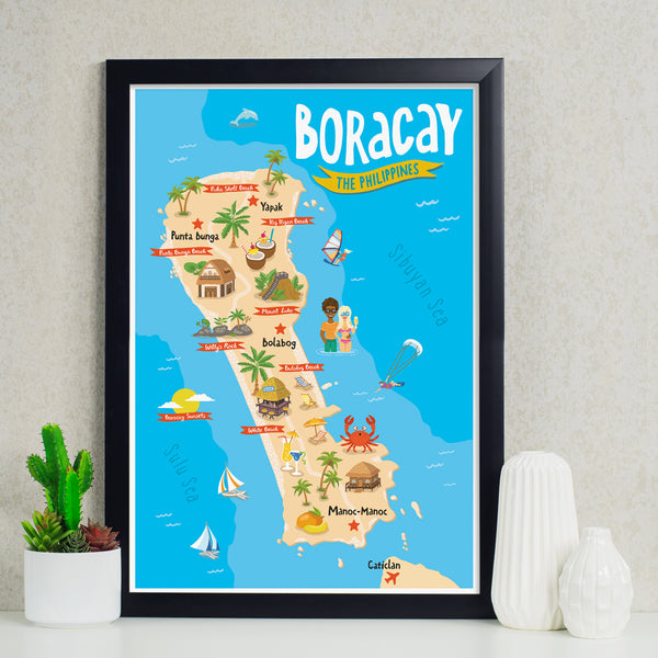 art travel poster boracay island map philippines pinoy tourist spot  Philippines gift