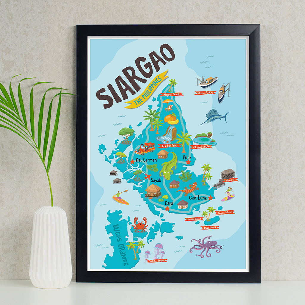 art travel poster siargao island map philippines