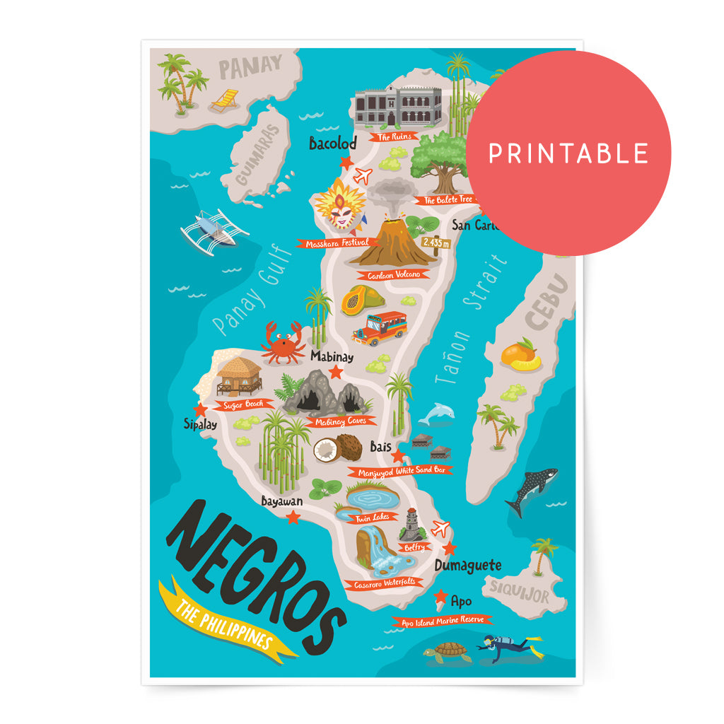 pinoy art wall decor digital download poster negros oriental occidental Dumaguete Bacolod tourist travel gift