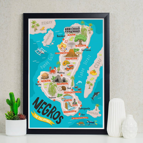 «Negros Illustrated Map» Poster Philippine