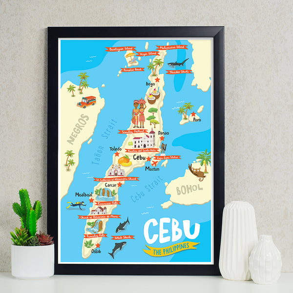 Cebu Illustrated Map Poster  Philippines gift