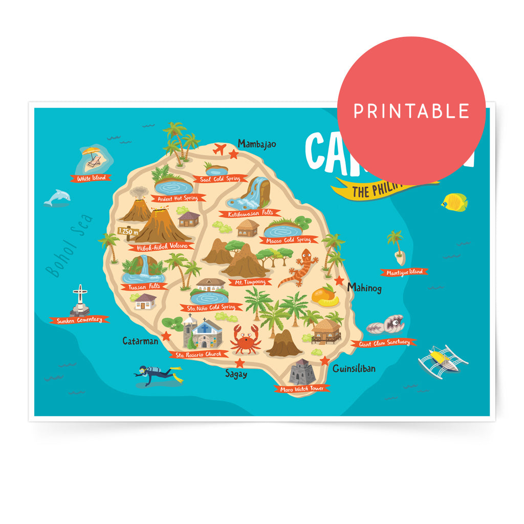 Camiguin Illustrated Map Printable Wall Art Poster