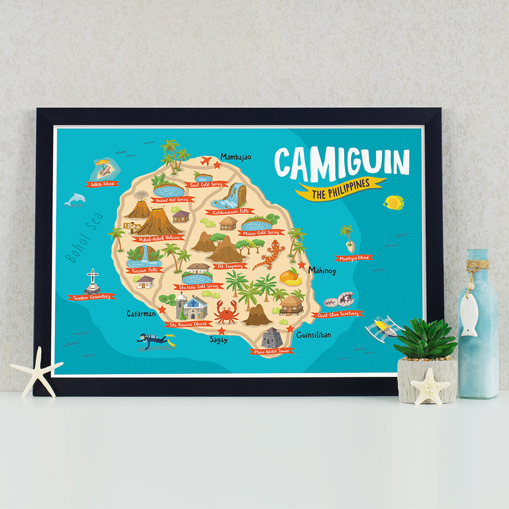 art travel poster camiguin island map philippines
