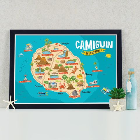 art travel poster camiguin island map philippines Philippine