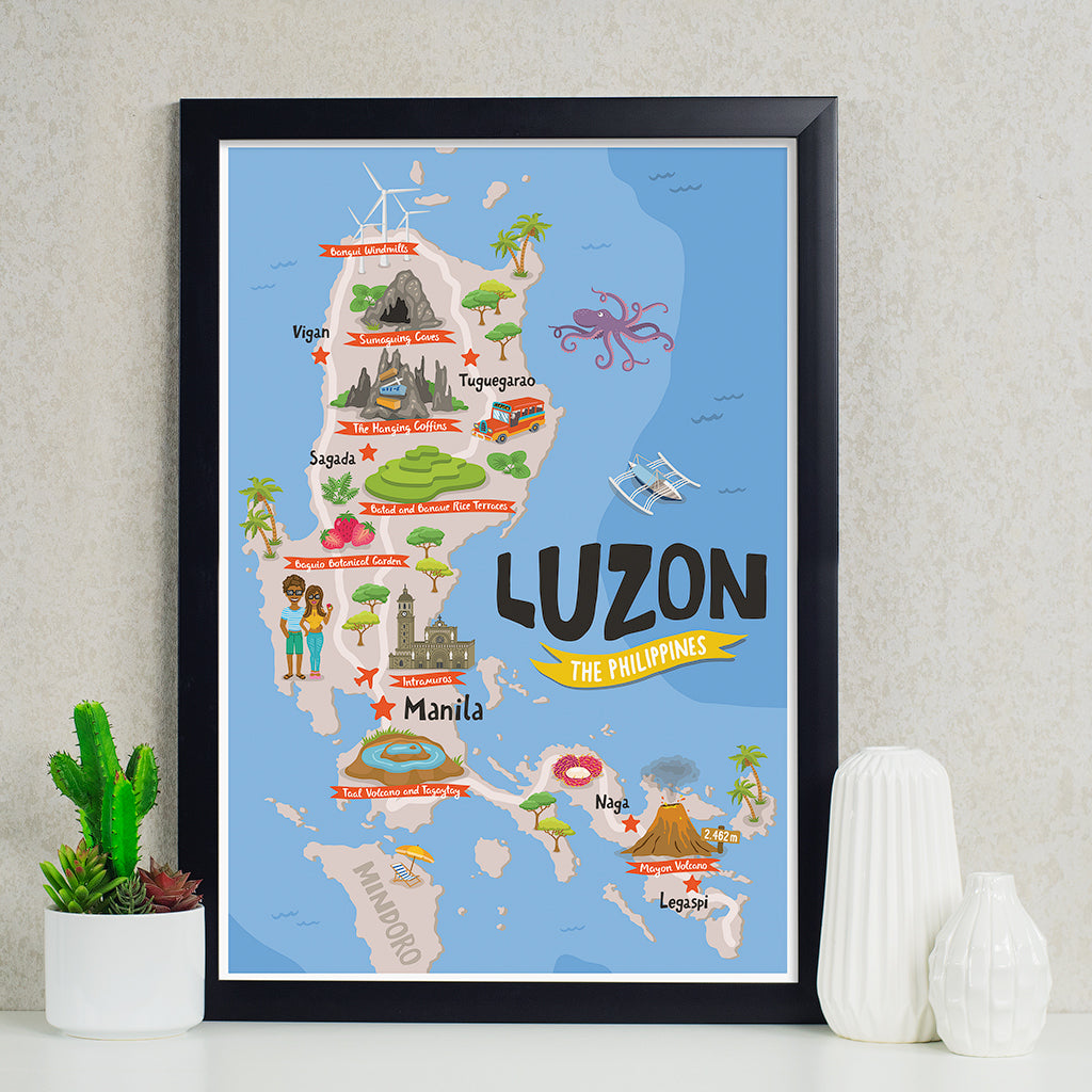 art travel poster luzon island map philippines