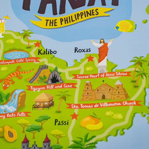 art travel poster panay island map philippines  Philippine