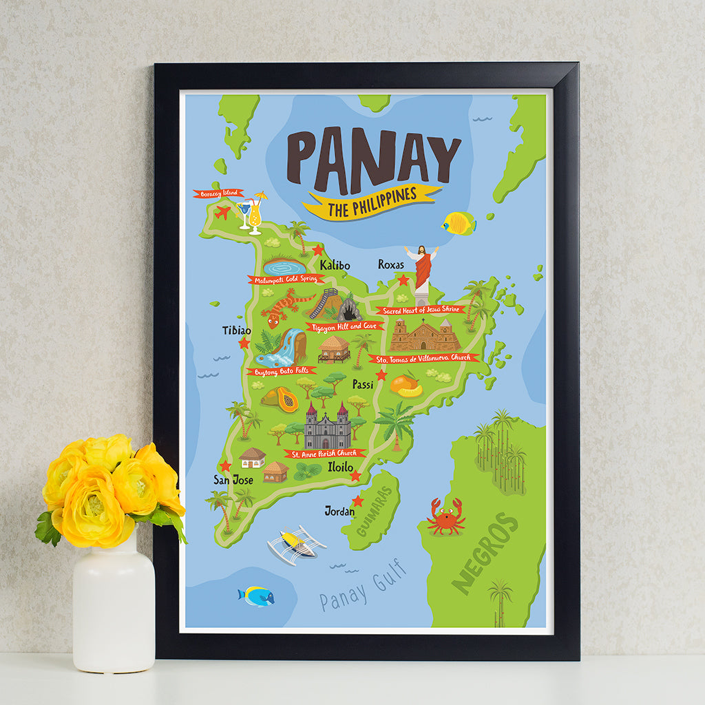art travel poster panay island map philippines