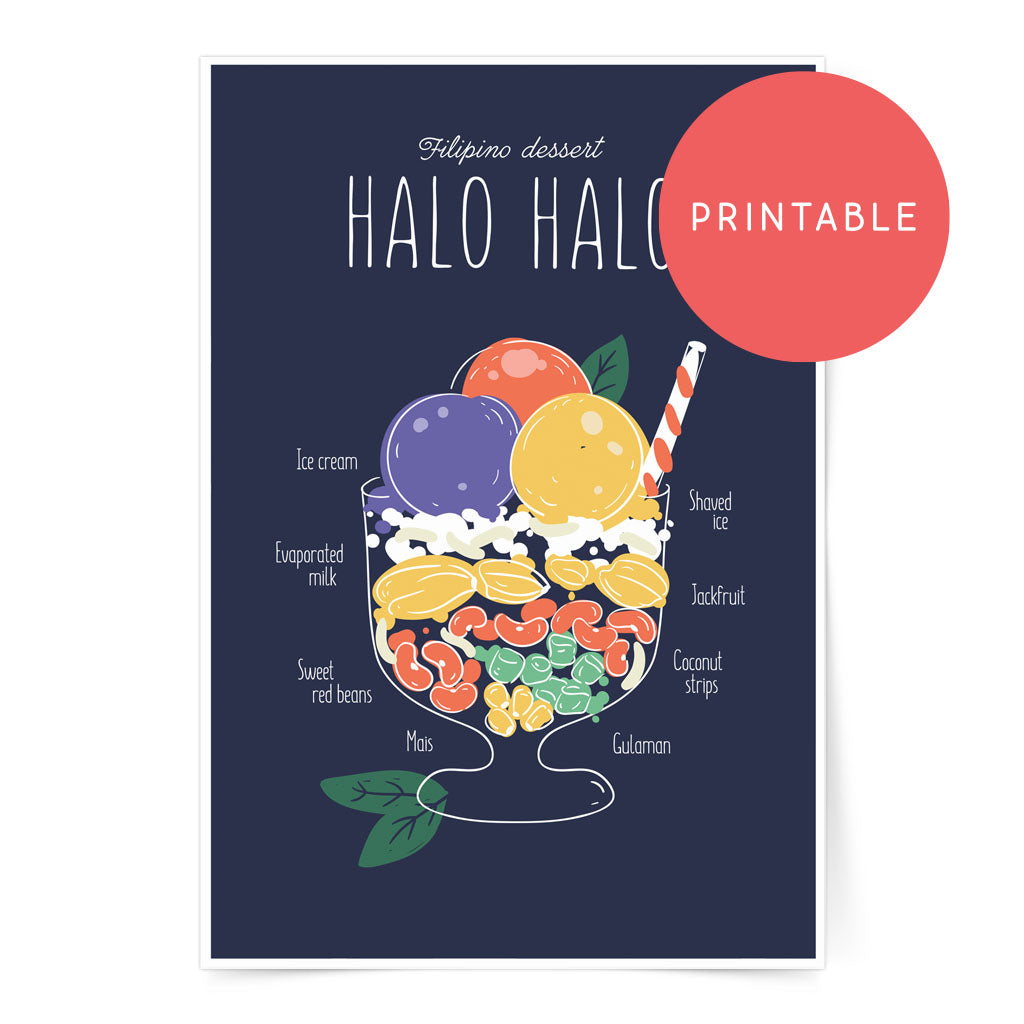 halo-halo filipino sweet poster wall decor art digital print ice cream