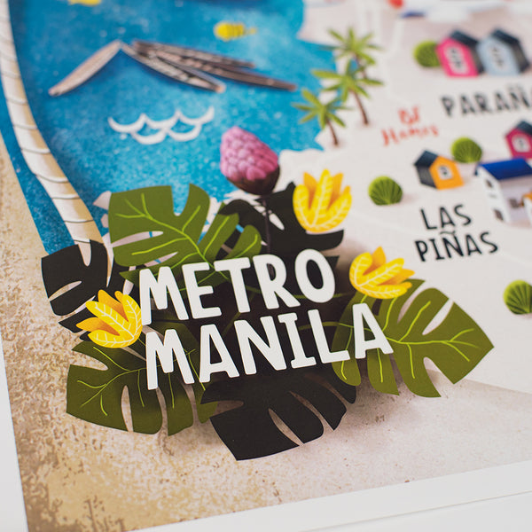 art travel poster metro manila map philippines  Philippines gift