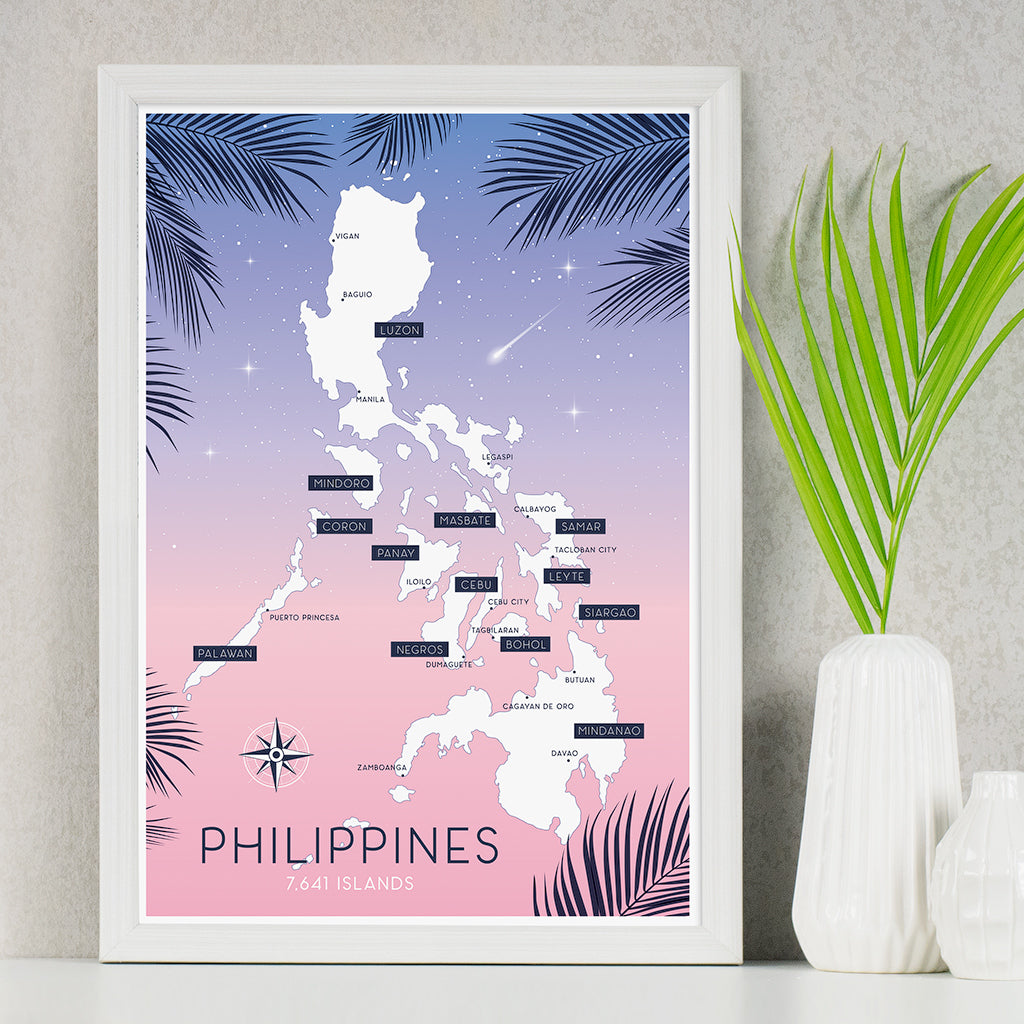 art travel poster island map philippines