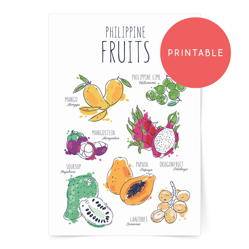 illustrated art kitchen wall decor dumaguete filipino food philippine fruits mango calamansi papaya guyabano dragon fruit lanzones mangosteen digital download