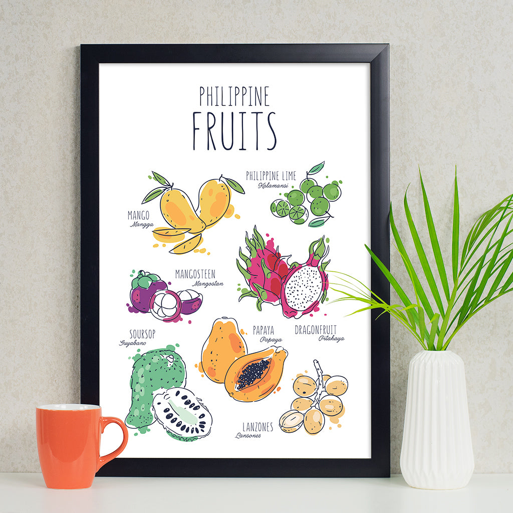 illustrated art kitchen poster philippine fruits mango calamansi papaya guyabano dragon fruit lanzones mangosteen