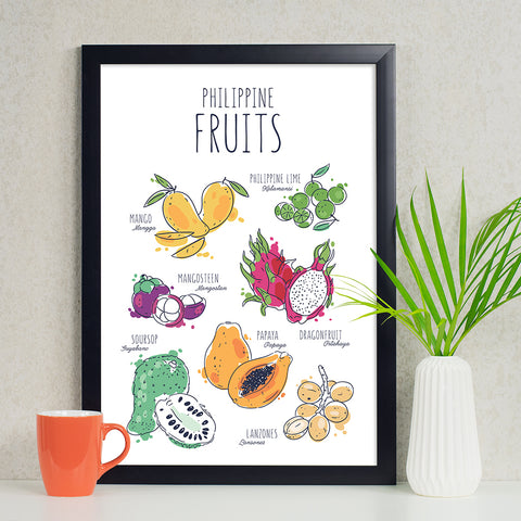 illustrated art kitchen poster philippine fruits mango calamansi papaya guyabano dragon fruit lanzones mangosteen Philippine